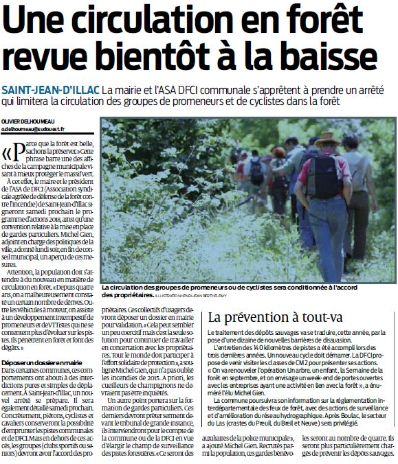 Article Sud ouest circulation foret 29.03.2018